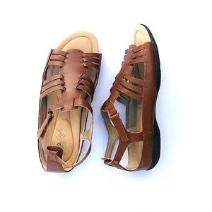 Soft Style Brown Leather Sandals, Size 8.5